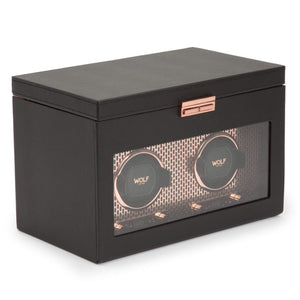 WOLF Axis Double Watch Winder with Storage Black and Copper