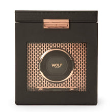 Load image into Gallery viewer, Wolf1834 Jewellery WOLF Axis Single Watch Winder with storage: Black Leather and Copper