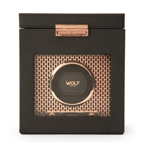 WOLF Axis Single Watch Winder with storage- Black Leather and Copper