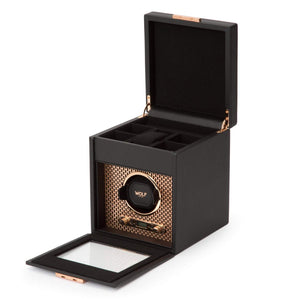 WOLF Axis Single Watch Winder with storage: Black Leather and Copper