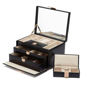 WOLF Chloé Medium Leather Jewellery Box - Black