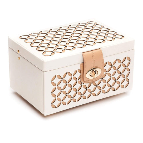 WOLF Chloé Small Leather Jewellery Box - Cream
