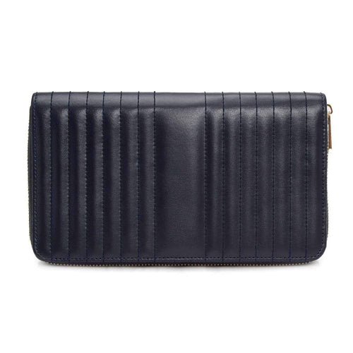 WOLF Maria Leather Travel Jewellery Portfolio - Navy
