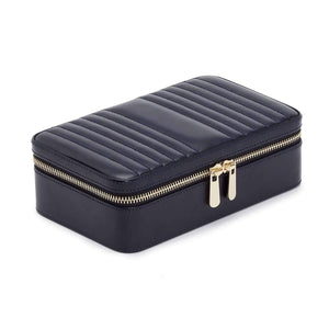 WOLF Maria Rectangle Zip Leather Jewellery Case - Navy