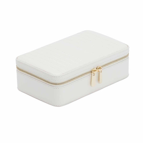 WOLF Maria Rectangle Leather Zip Travel Jewellery Case - White