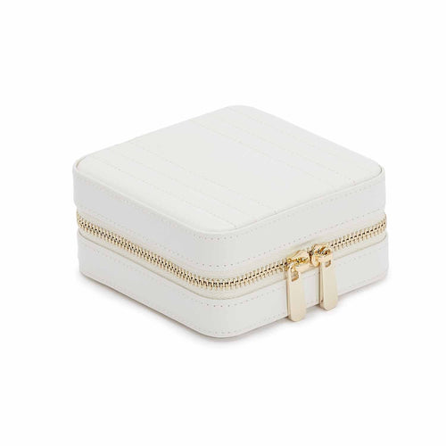 WOLF Maria Square Leather Zip Travel Jewellery Case - White