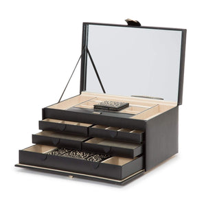 WOLF Marrakesh Large Leather Jewellery Box - Black