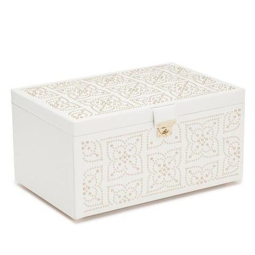 WOLF Marrakesh Large Leather Jewellery Box - Cream