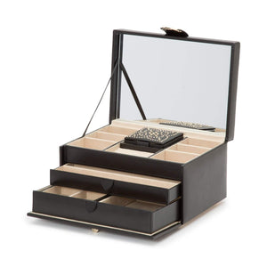 WOLF Marrakesh Medium Leather Jewellery Box - Black
