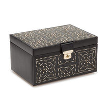 Load image into Gallery viewer, Wolf1834 Jewellery WOLF Marrakesh Medium Leather Jewellery Box - Black