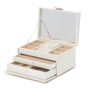 WOLF Marrakesh Medium Leather Jewellery Box - Cream