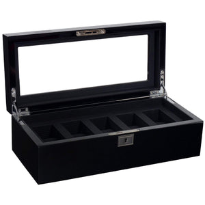WOLF Savoy Wooden 5 piece Watch Box - Black
