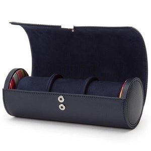 WOLF Howard Triple Leather Watch Roll - Navy