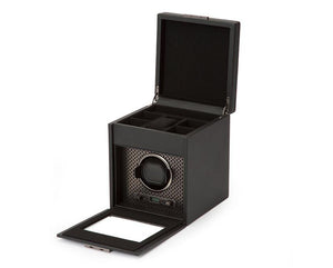WOLF Axis Single Watch Winder with Storage - Powdercoat Black