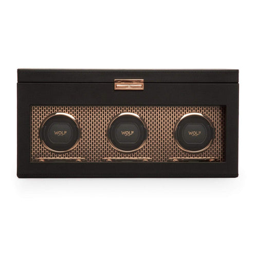 WOLF Axis Triple Watch Winder with Storage and Travel Case- Black and Copper