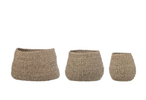 Natural Seagrass Baskets, Set of 3