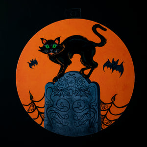 Tombstone Cat Halloween Decoration - Print