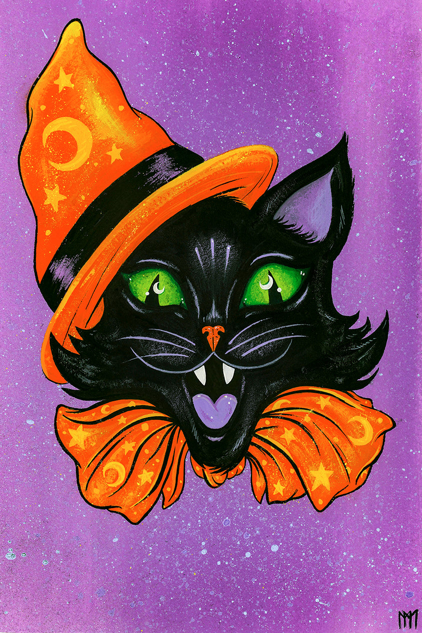 Halloween Party Cat Giclee Print