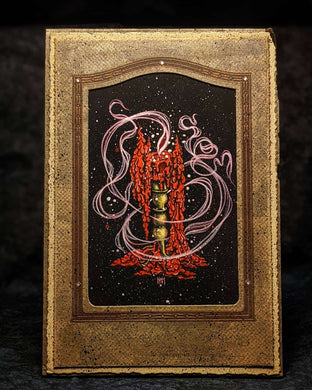 Hand-Embellished Red Candle Antique Mat - 2