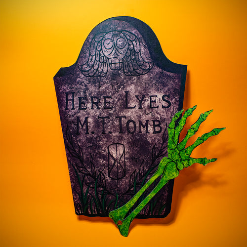 Tombstone w/ Moving Arm Halloween Decoration - Print