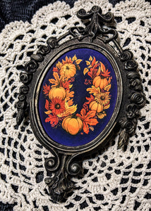 Autumnal Wreath in Antique Frame
