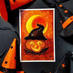 Pumpkin Witch Postcard Print