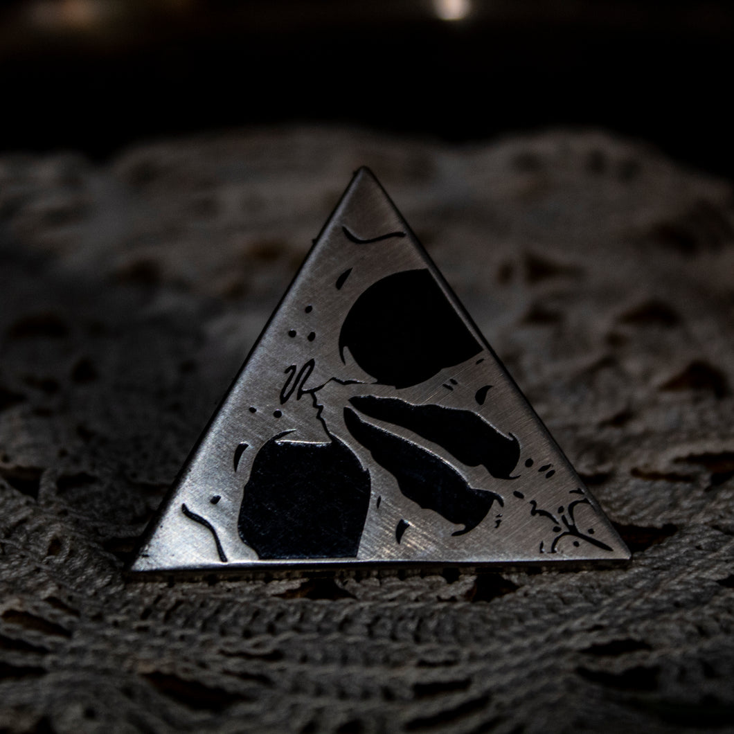 Trigonon Enamel Pin - Brushed Silver