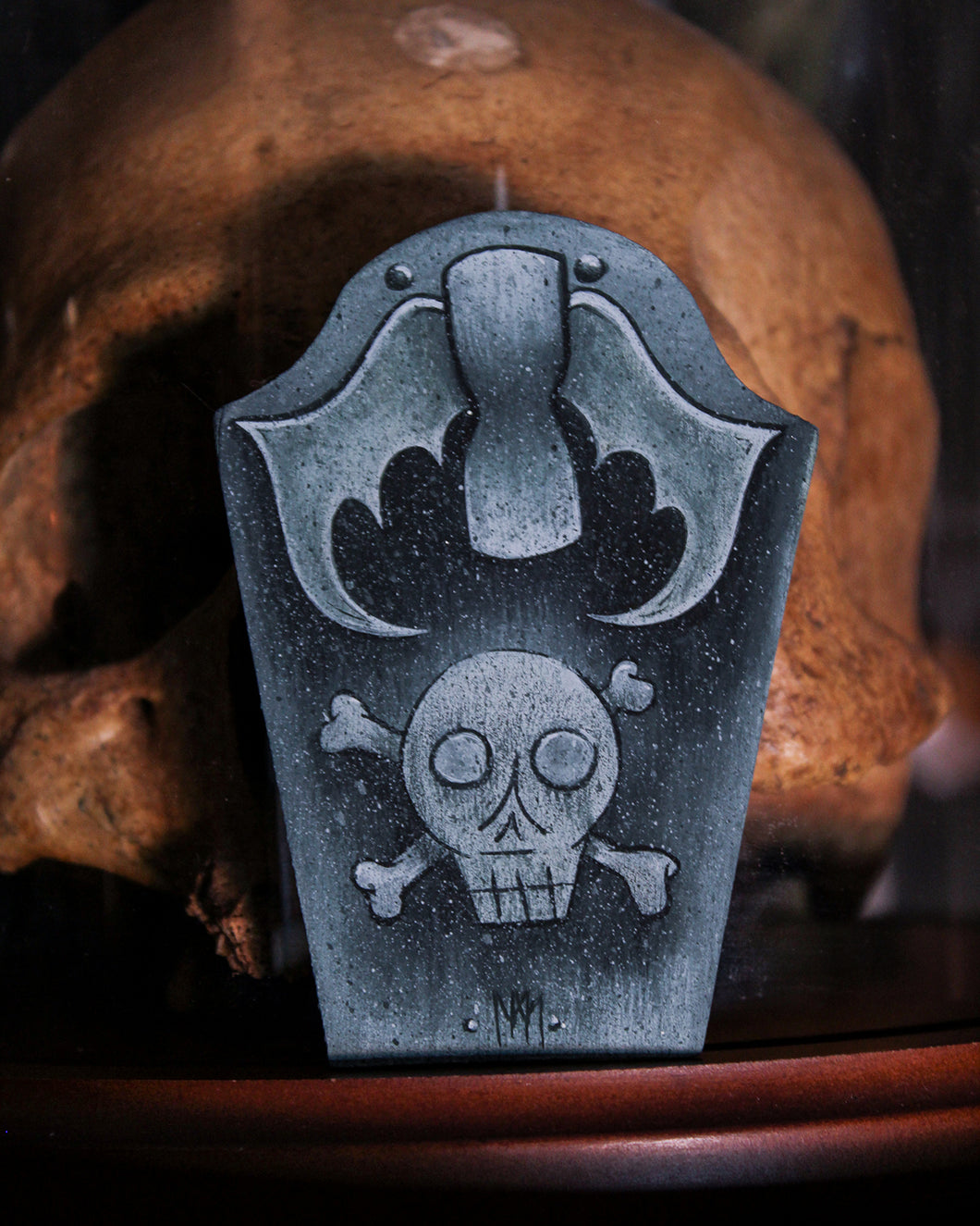 Deaths Head & Hourglass Tombstone