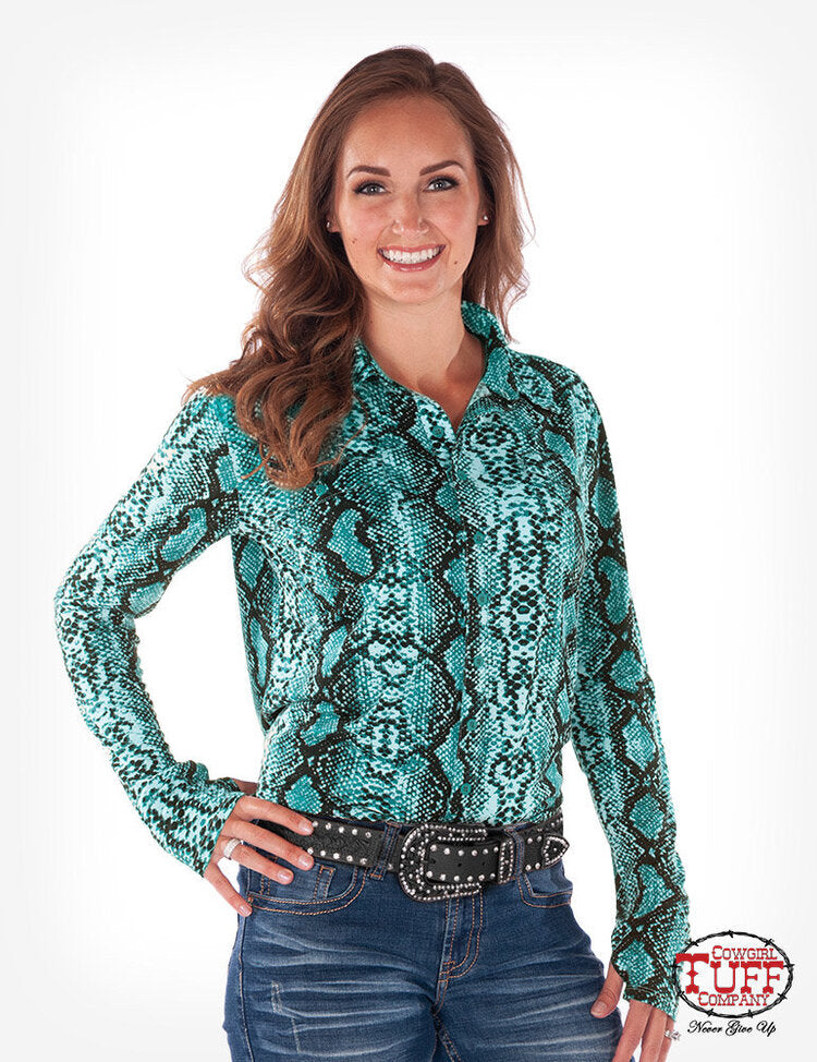 Turquoise Snakeskin Print Sport Jersey Button Up