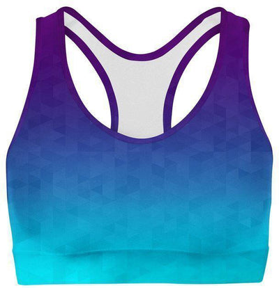 Deep Sea Triangles Sports Bra-WELLNESS HEAVENS