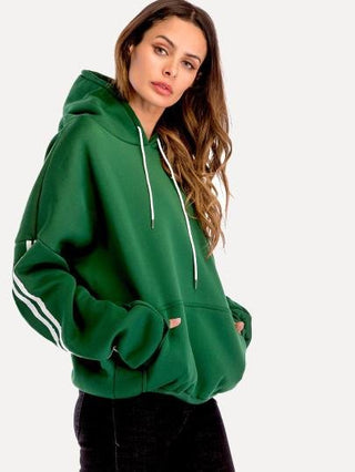 Drop Shoulder Hooded Sweatshirt - WELLNESS HEAVENS