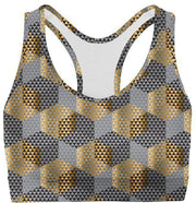 Golden Geometric Sports Bra-WELLNESS HEAVENS