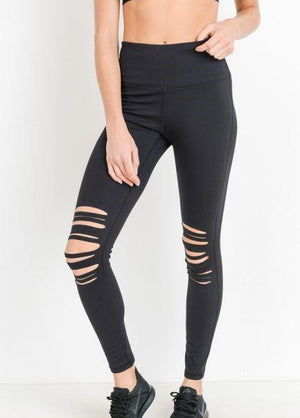 High Waist Laser Cut Ripped Knee Leggings - WELLNESS HEAVENS