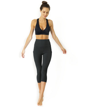 High Waisted Yoga Capri Leggings - Slate Grey - WELLNESS HEAVENS