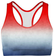 Patriotic Triangles Sports Bra-WELLNESS HEAVENS