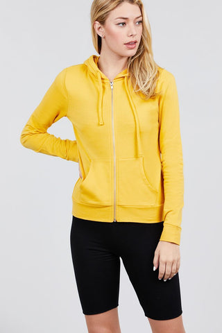 Yellow - Long Sleeve French Terry Jacket - WELLNESS HEAVENS