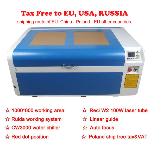 TAX FREE Reci 100W Ruida DSP 1000*600 Laser machine Rotation Axis