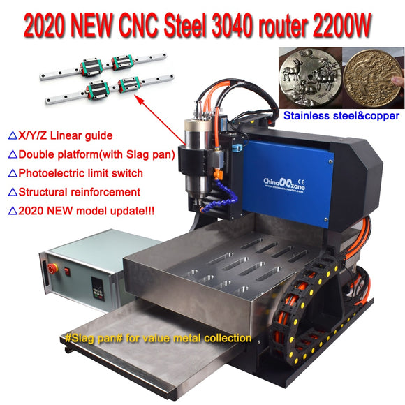 2020 NEW 4-Axis Steel CNC 3040 Router Milling Engraving Carving Machine & Linear Guide for metal aluminum stainless steel copper