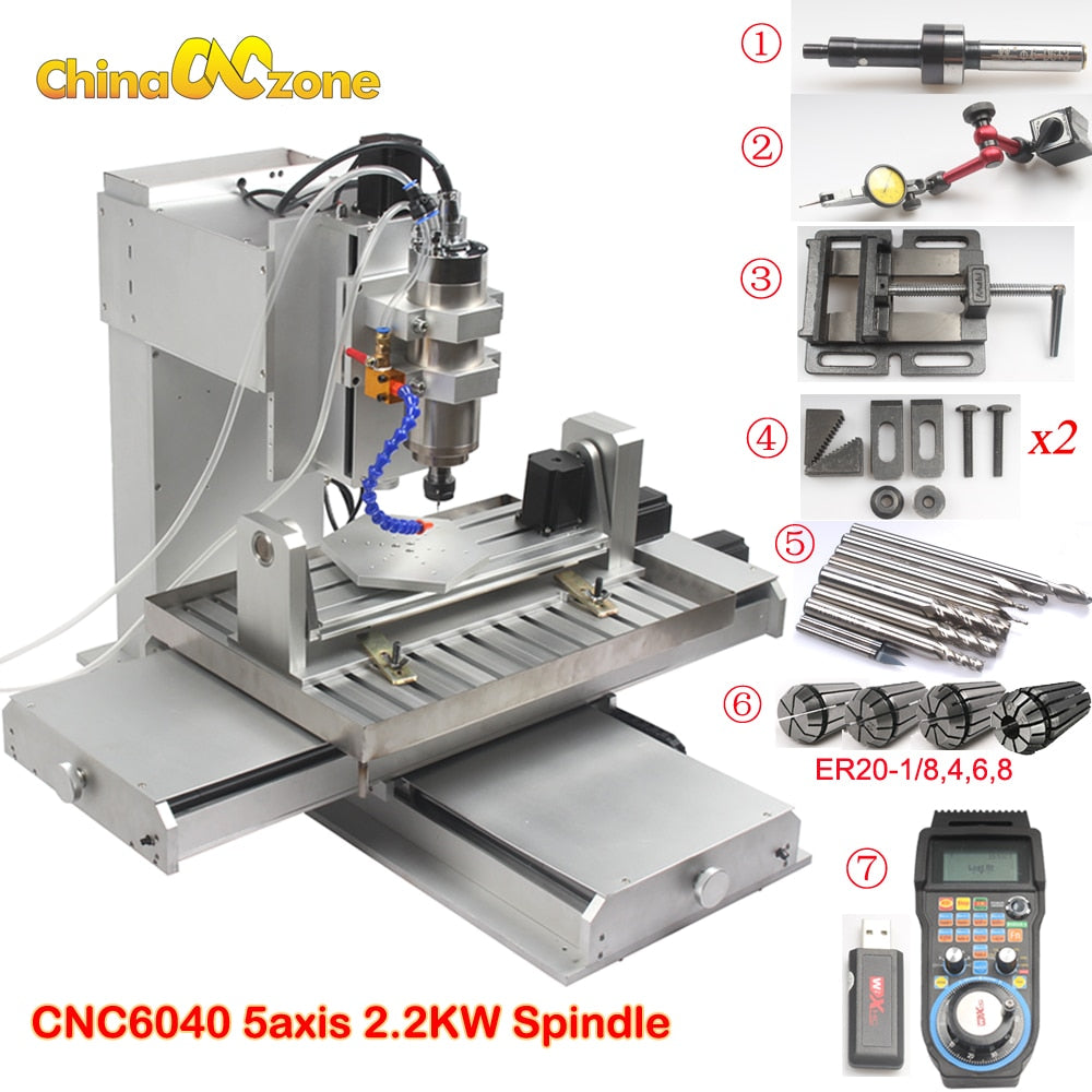 Free shipping Newest Mach3 USB CNC 5 axis 6040 CNC Router Engraving Machine