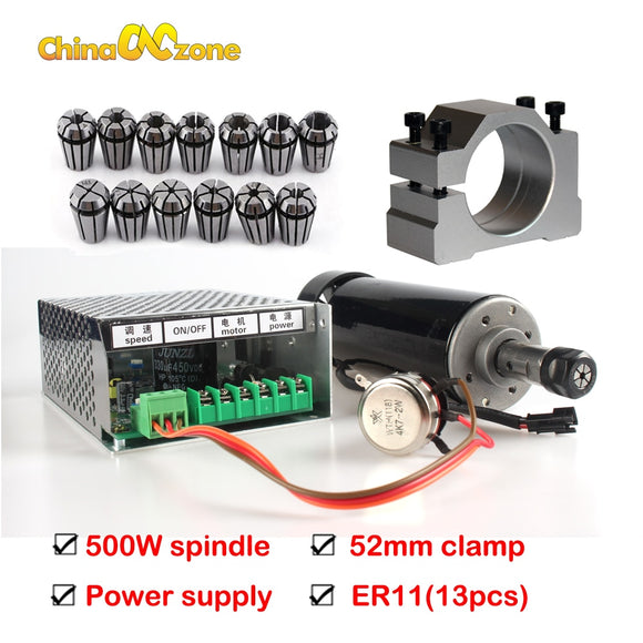 500W Air Cooled Spindle ER11 Chuck CNC 0.5KW Spindle Motor + 52mm clamps + Power Supply speed governor For DIY CNC machine kit