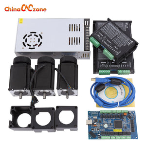 CNC MACH3 USB Kit 3pcs Nema 23 Stepper Motor 57HS76 3A + 3pcs M542 Driver+ Interface Board+Power Supply
