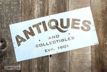 Load image into Gallery viewer, Antiques Sign Stencil By Funky Junk Old Sign Stencils
