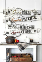 Load image into Gallery viewer, Apple Cider , Corn maze, Pumpkin Patch , Hay rides by Funky Junks old sign Stencils