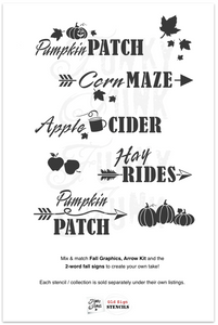 Apple Cider , Corn maze, Pumpkin Patch , Hay rides by Funky Junks old sign Stencils