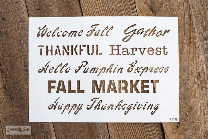 Fall Greetings by Funky Junk  Old Sign Stencil