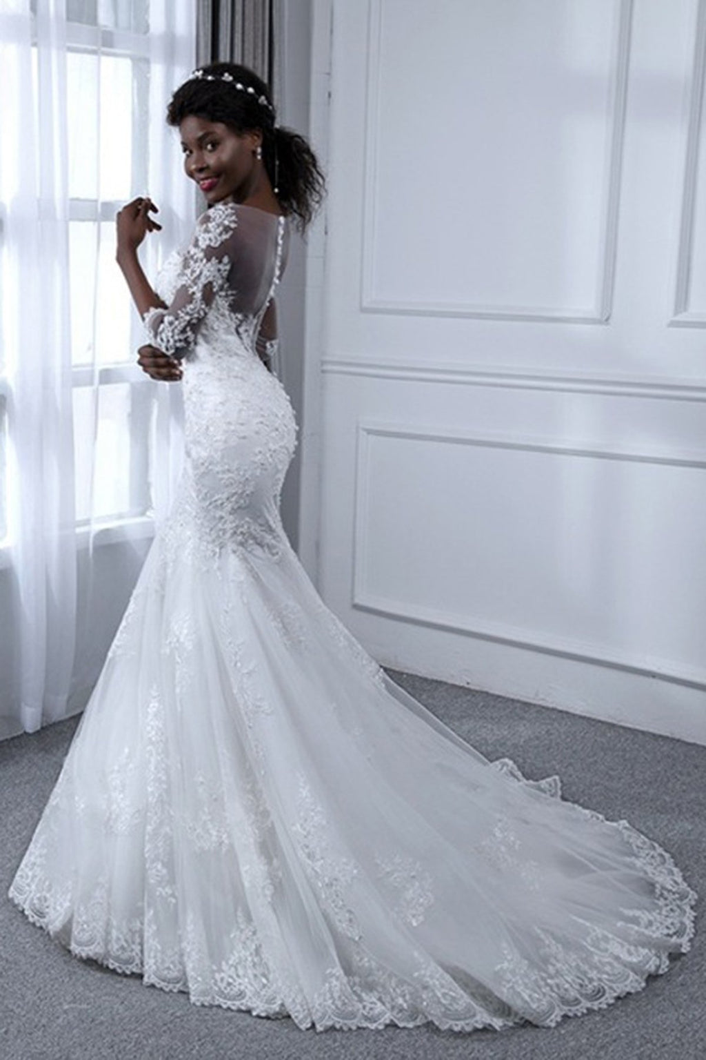3/4 Sleeve Mermaid Sheath Wedding Dress Wedding Dress US2 Ivory