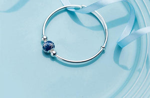 990 Silver Snowflake Blue Ball Bracelet Accessories