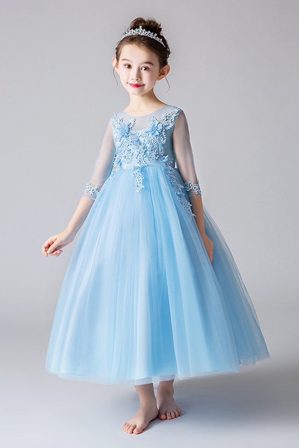 A-line 3/4 Sleeve Ankle Length Princess Dress Flower Girl Dresses 120cm Blue