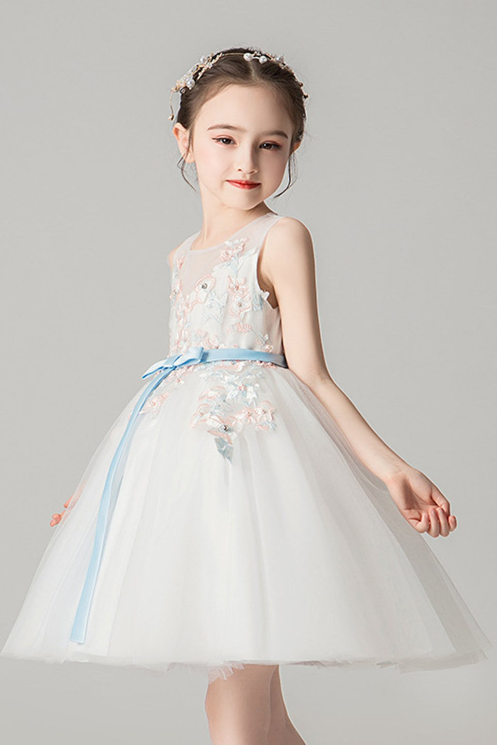 A-Line Appliques Sweet Lace Princess Dress Flower Girl Dresses 120cm White
