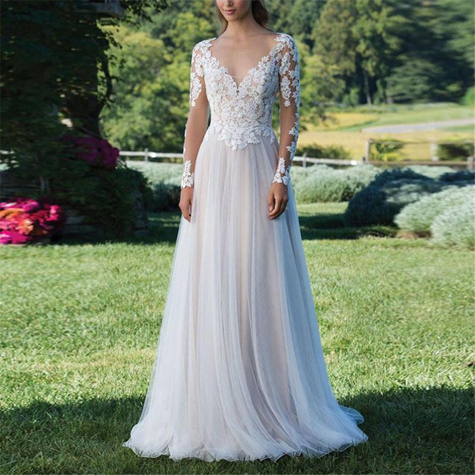 A-Line Long-Sleeved Lace Sexy Wedding Dress Wedding Dress